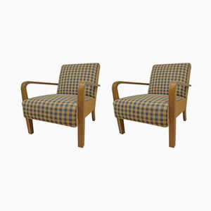 Vintage Chequered Armchairs, Set of 2