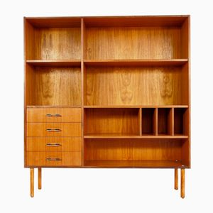 Vintage Scandinavian Modern Teak Bookshelf with Shelves and Drawers
