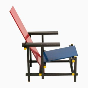 Red and Blue Chair by Gerrit Thomas Rietveld for Cassina, 1978