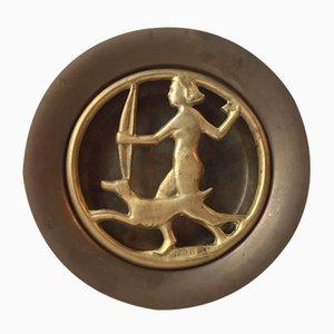 Incensiera Art Deco in bronzo di N. Dam Ravn per Nordisk Malm, Danimarca, anni '30