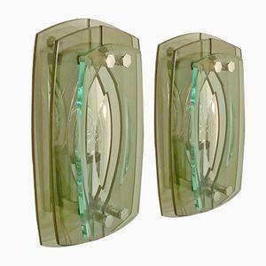 Italienische Glas Wandleuchten von Veca, 1960er, 2er Set