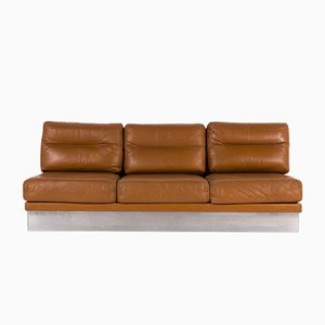 Brown Leather Sofa by Jacques Charpentier, 1970