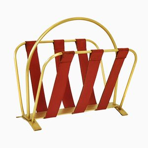 French Brass & Leather Newspaper Rack, 1960s