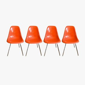 Vintage Orange DSX Chairs by Charles & Ray Eames for Herman Miller, 1960s, Set of 4