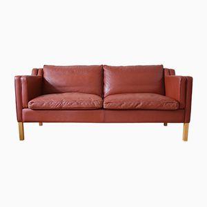 Cognacfarbenes Dänisches Zweisitzer Leder Sofa von Stouby, 1980er