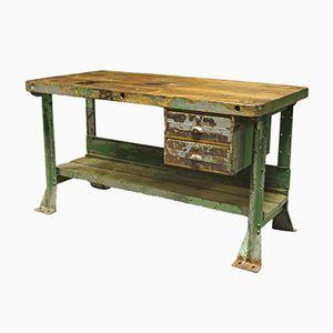 Tavolo da lavoro vintage industriale in quercia e acciaio, Francia, anni '40