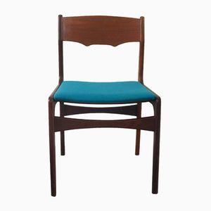 Dänischer Stuhl mit Bezug in Aquamarin, 1950er