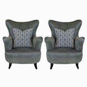 Mid-Century Italian Grey Velvet Armchairs, Set of 2