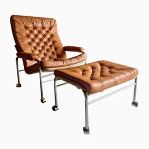 Bore Lounge Chair & Footstool by Noboru Nakamura for Ikea, 1970s