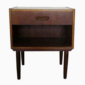 Mid-Century Danish Veneered Oak Bedside Cabinet with One Drawer