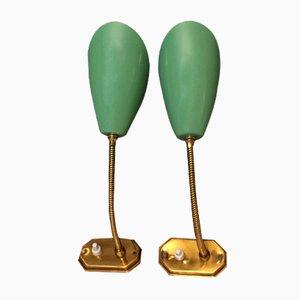 Italienische Mid-Century Wandlampen in Grün und Gold, 2er Set