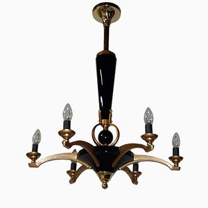 Bronze and Patina Chandelier by Petitot, 1930s