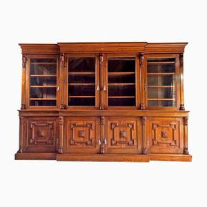 Antique Victorian Bookcase with Glazed Breakfront