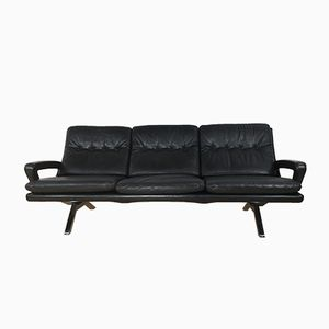 Vintage Black 3-Seater Sofa in Leather