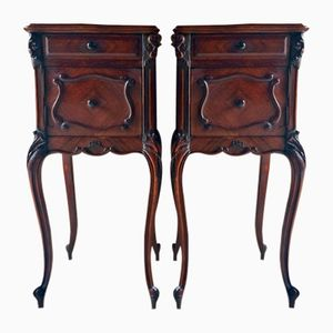 Antique French Walnut & Marble Night Stands, Set of 2