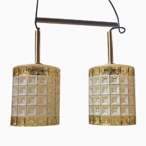 Lampada a sospensione Mid-Century in ottone e vetro di Orrefors, anni '60