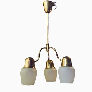 Mid-Century Opaline Glass & Brass Ceiling Light from Asea, 1950s