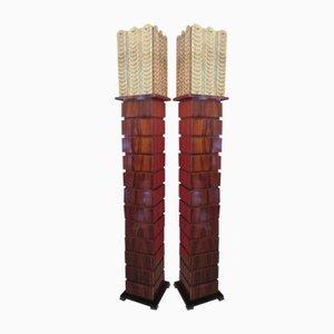 Lampade da terra in legno e vetro di Murano, anni '80, set di 2