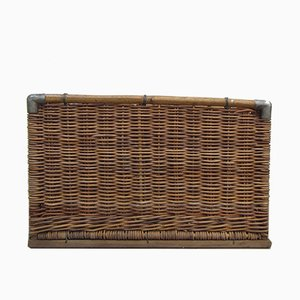 Großer Wäschekorb aus Korbgeflecht, 1950er