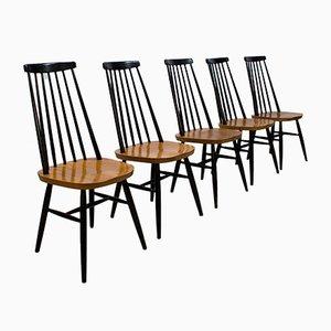 Sedie da pranzo vintage Mademoiselle con schienale a stecche di Ilmari Tapiovaara, set di 5