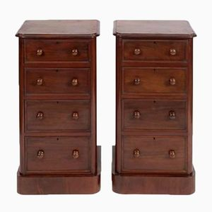 Antique Mahogany Bedside Cabinets, 1870s, Set of 2