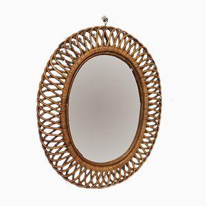 Mid-Century Italian Rattan Mirror