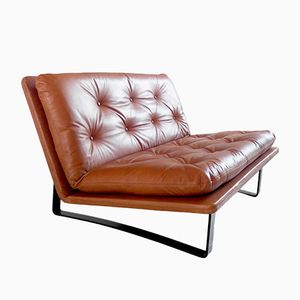 Vintage Loveseat in Cognac Leather by Kho Liang Ie for Artifort