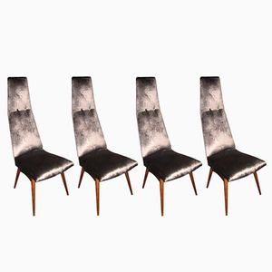 High Back Chairs in Velvet by Adrian Pearsall, 1960s, Set of 4