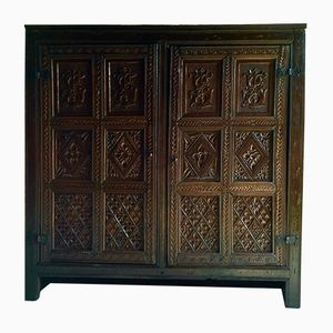 Antique Carved Linen Cupboard
