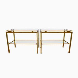 Vintage Messing Tische von Guy Lefevre für Maison Jansen, 2er Set
