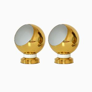 Swedish Golden-Colored Wall Lamps, 1970s, Set of 2