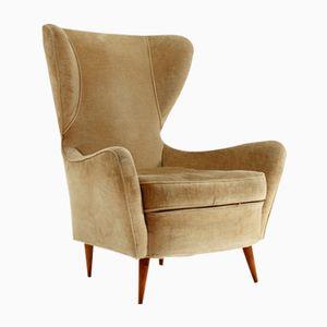 Italian Velvet Wingback Armchair, 1950s