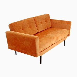 Dormeuse di velluto arancione, Italia, anni '50