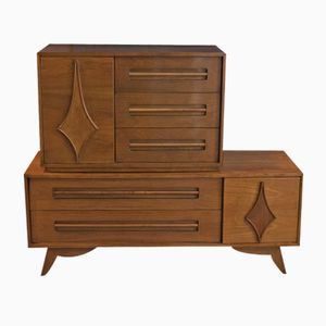 Two-Piece Walnut Chest of Drawers, 1960s