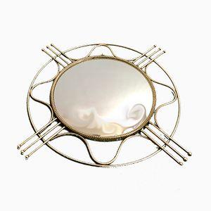 Vintage Convex Round Brass Mirror