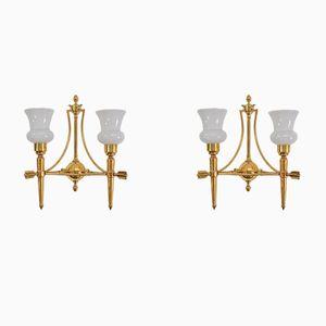 Mid-Century French Brass Arrow Sconces, Set of 2