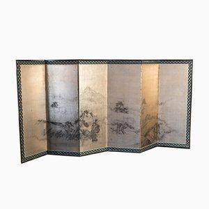 Paravent Antique à Six Panneaux en Feuille d'Or, Japon