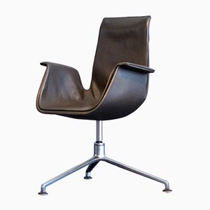 Vintage 6725 Leather Tulip Chair with Swivel Base by Fabricius Kastholm for Kill International