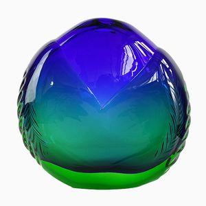 Vaso vintage in vetro artistico blu e verde di Ladislav Oliva per Beránek Glass