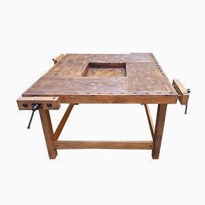 Table de Charpentier Vintage avec 4 Tiroirs