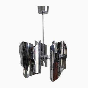 Lampada a sospensione vintage con 5 paralumi placcati in cromo di Tappital SNC