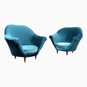 Italian Tub Armchairs, 1950s, Set of 2