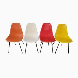 Multicolored Chairs by Charles & Ray Eames for Herman Miller, 1960s, Set of 4