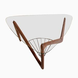 Free-Form Triangular Teak Coffee Table by Louis Sognot