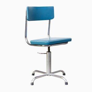 Sedia da ufficio piccola in similpelle blu con bordo bianco, anni '60