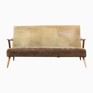 Mid-Century Sofa in Teak and Fabric