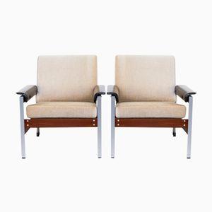 Mid-Century Teak, Leatherette, Fabric, and Aluminum Armchairs, Set of 2