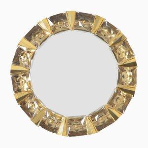 Beleuchteter Spiegel aus Glas & Vergoldetem Messing von Kinkeldey, 1970er