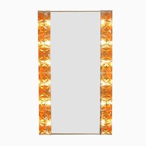 Beleuchteter Spiegel aus Kristallglas & Vergoldetem Messing von Kinkeldey, 1970er