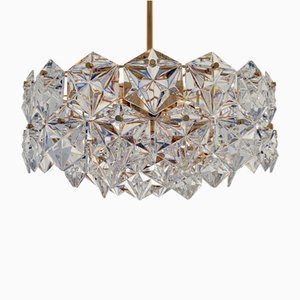 Pendant Lamp in Faceted Crystal and Gilt Brass from Kinkeldey, 1970s